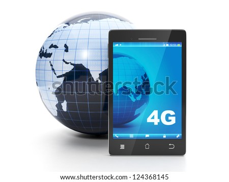 Land and mobile phone. 4g speed internet in all the earth - stock photo