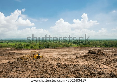 land area adjustment and reclamation project - stock photo