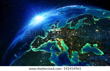 land area in Europe the night - maps elements of this image furnished by NASA - stock photo