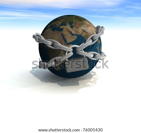 land covered with three-dimensional chains with a lock - stock photo