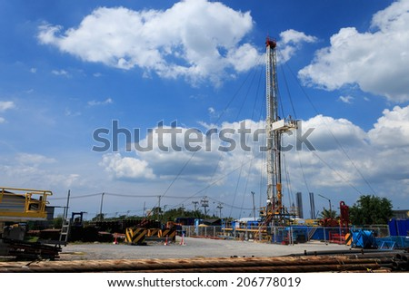 Land Drilling Rig in Yard - stock photo