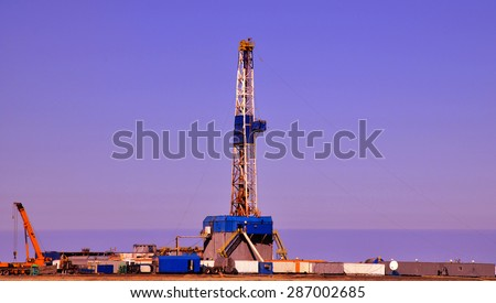Land Drilling Rig - morning time - stock photo
