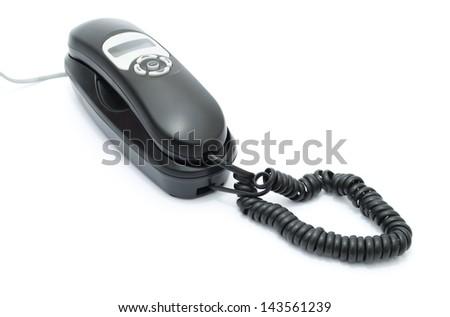land line phone on white background - stock photo