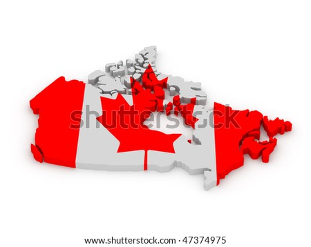 Land of Canada painted in color of canadian flag isolated on white background. High quality 3d render. - stock photo