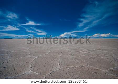 Land of Salar de Uyuni in the dry season - stock photo