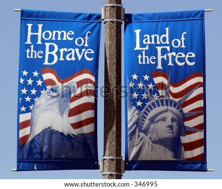 Land of the free, home of the brave village banners