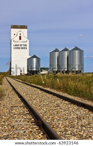Land of the Livings Skies slogan can be found on a grain elevator in Saskatchewan - stock photo
