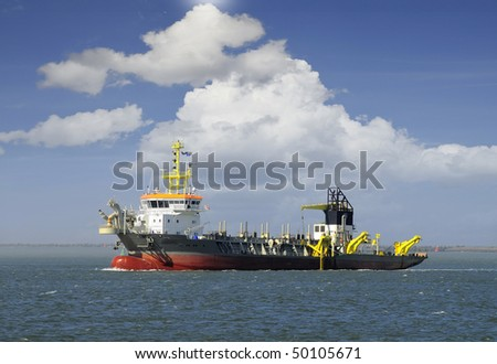 Land reclamation for new ports - stock photo