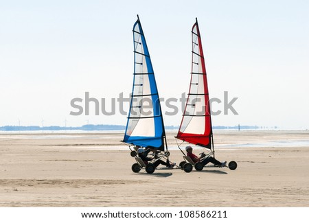 Land sailing on the summer beach - stock photo