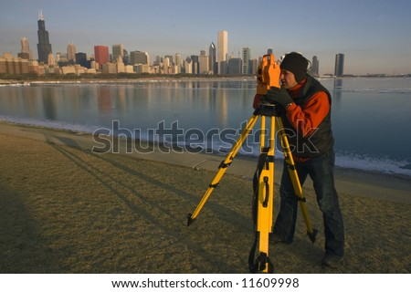 Land Surveying in Chicago. - stock photo