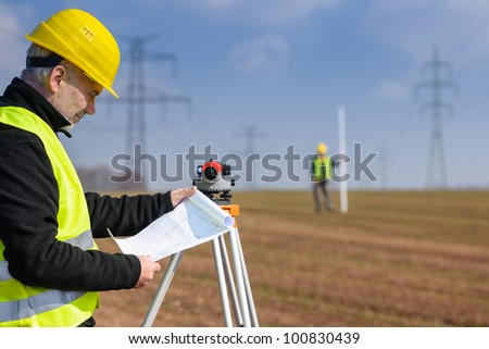 Land surveyor stock images royalty free images vectors for How to read construction site plans