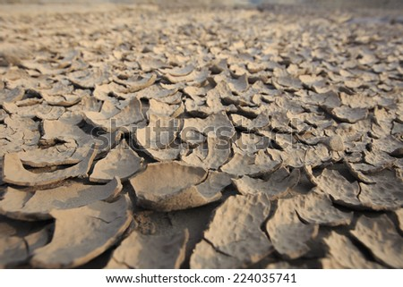 land with dry cracked ground texture, thailand - stock photo