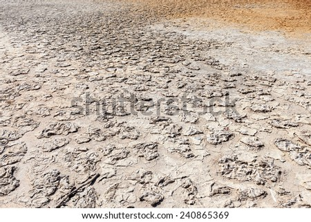Land with no water - dry drought, and cracked ground - stock photo