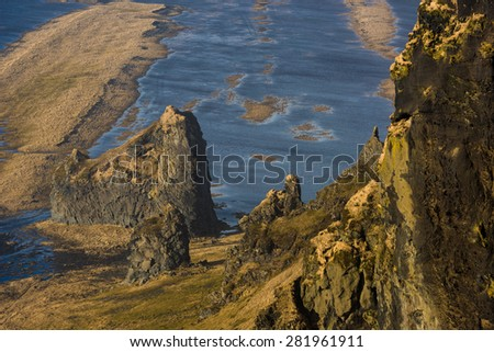Landcape of Iceland, From Cape Dyrholaey, the most southern point of Iceland. - stock photo