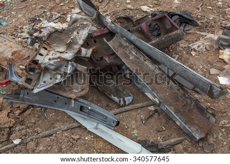 Landfill . Garbage. Municipal solid waste and food waste - stock photo
