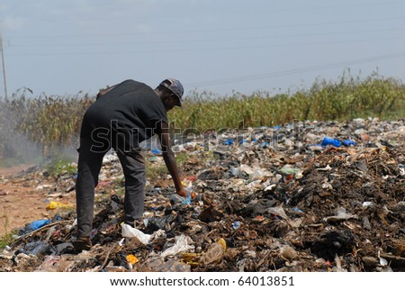 landfill in africa - stock photo