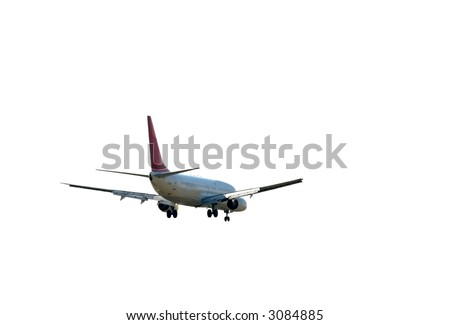 Landing commercial aircraft isolated on white - stock photo