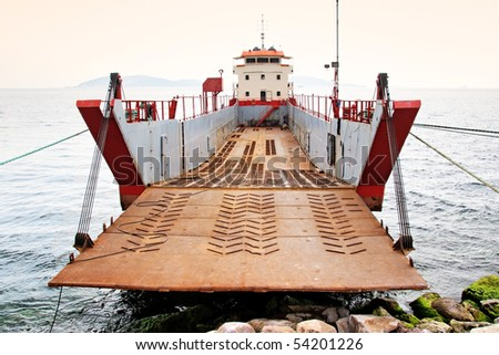 Landing craft ready for load - stock photo
