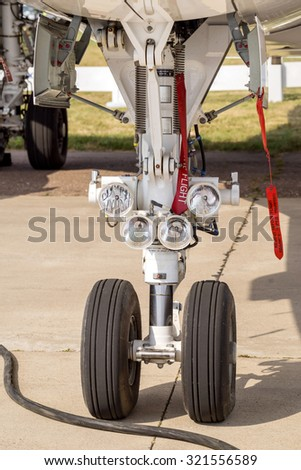 Landing gear. Front part of chassis of aircraft closeup