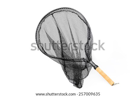Landing net with handle isolated on white/Landing net isolated/Landing net for fishing isolated