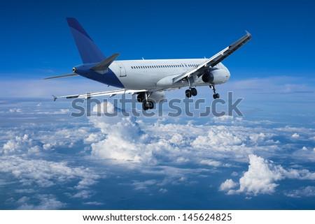 Landing of jet aircraft - stock photo