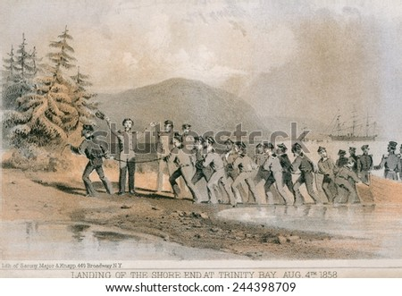 Landing of the first Atlantic telegraph cable at Trinity Bay, Newfoundland on August 4, 1858. The cable ran under the ocean to the Valentia Island, in western Ireland. The cable failed. - stock photo