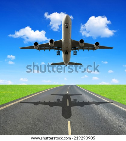 Landing passenger airplane  - stock photo