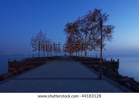 Landing stage by night - stock photo