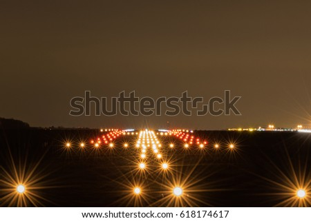 Landing strip night lights on stock photo edit now shutterstock mozeypictures Image collections