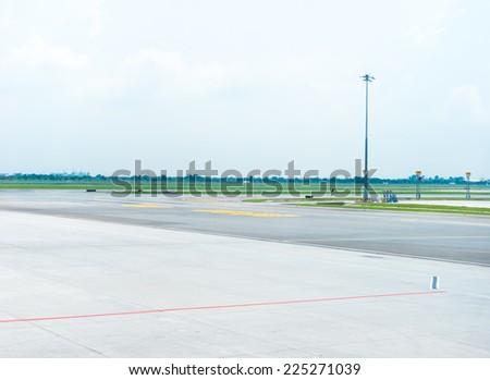 landing strip in airport - stock photo