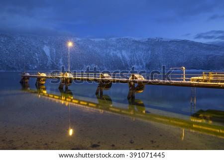 Landingplace at the harbour of Botnhamn at Senja Island in Norway, Scandinavia - stock photo