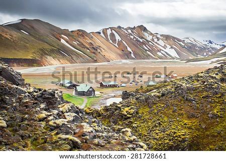 Landmannalaugar Camping, Fjallabak Nature Reserve Central Iceland - stock photo