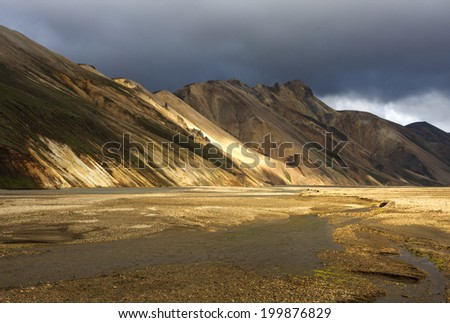 Landmannalaugar mountains in central Iceland - stock photo