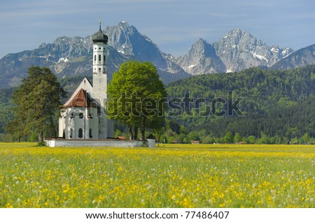 landmark church St. Coloman in Bavaria, Germany, at springtime