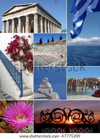 Landmark Collage of Greece - stock photo