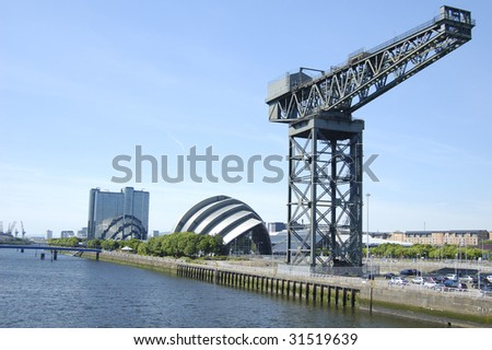 Landmark crane on the bank of the River Clyde in Glasgow, Scotland