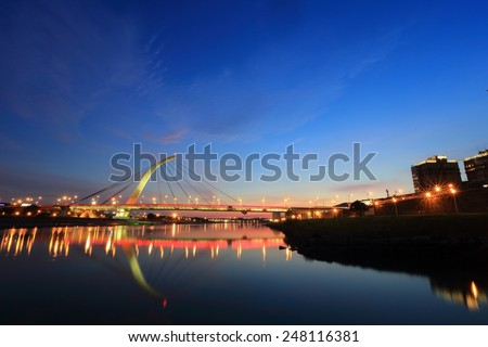 "Landmark ""Dazhi"" Bridge at Dusk in Taipei Taiwan - stock photo"