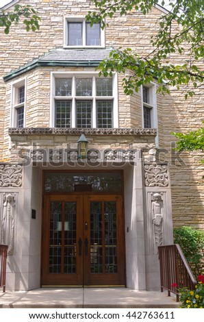 landmark education building and entrance  in western springs illinois - stock photo