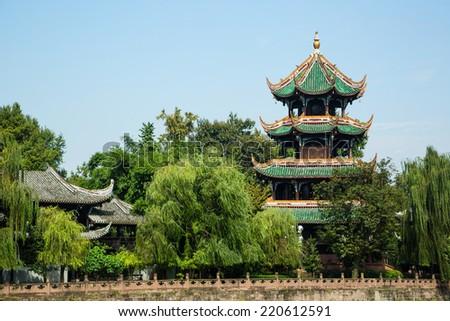 Landmark for famous Chinese city, Chengdu - stock photo