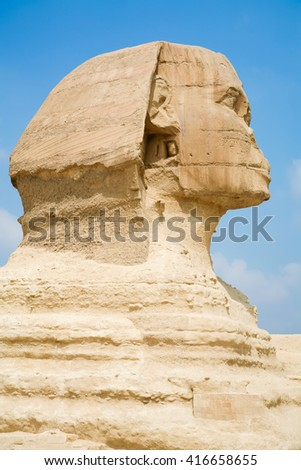 landmark of famous Great Sphinx, from century XXVI Before Christ, public monument in Giza next to Cairo city Egypt, Africa
