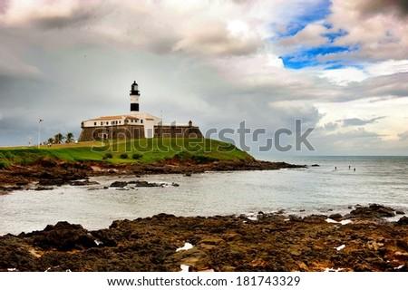 Landmark of Salvador, Bahia - Barra Lighthouse - stock photo