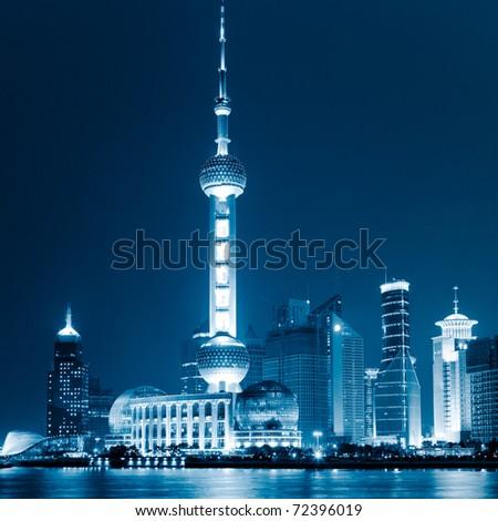 landmark of shanghai china. - stock photo