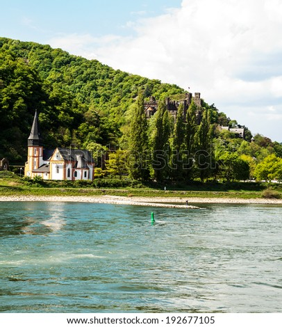Landmark Reichenstein castle in the famous Rhine Gorge north of Rudesheim, Germany  - stock photo