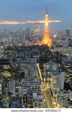 Landmark Tokyo Tower in Minato Ward, Tokyo, Japan. - stock photo