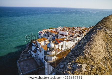 landmark, view from the castle Penyiscola, the city with the beach and sea, spain - stock photo