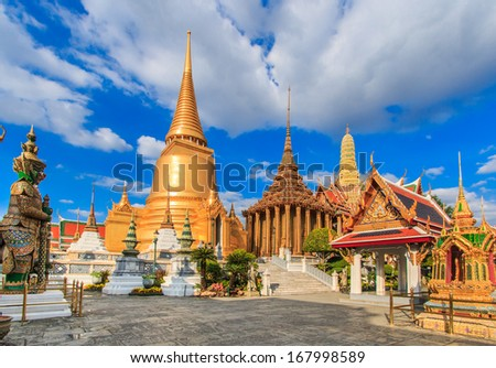 Landmark Wat Phra Kaeo, Temple of the Emerald Buddha Bangkok, Asia Thailand - stock photo