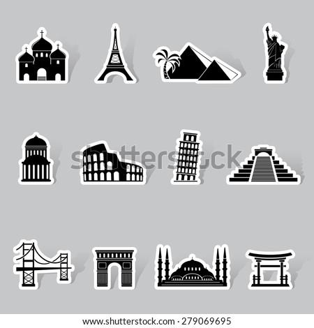 Landmarks icons - stock photo