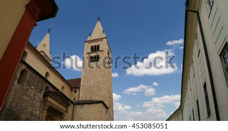 Landmarks, in the Prague Castle complex, Czech Republic. Prague Castle is the most visited attraction in the city - stock photo