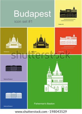 Landmarks of Budapest. Set of flat color icons in Metro style. Raster image - stock photo