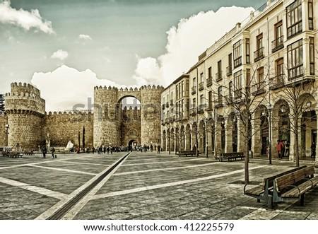 Landmarks of Castle of Avila et Castilla and Leon, Spain - stock photo